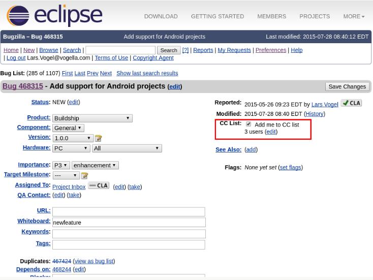 Eclipse tarafından Gradle'in desteklenmesi için oy veriniz.