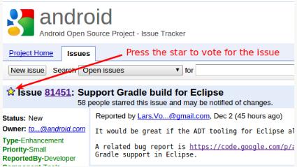 Eclipse'in Google tarafından desteklenmesi için oy veriniz.