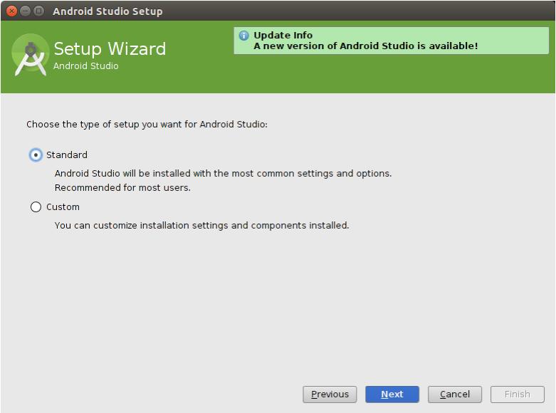 Android Studio, yapılandırma sihirbazı