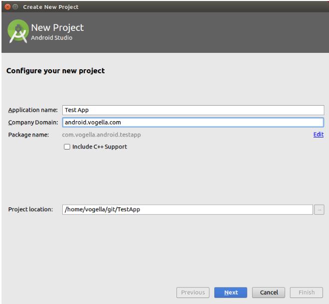 Yeni Android Studio projesi oluşturmak