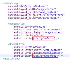 RadioButton'un text özelliğini değiştirin